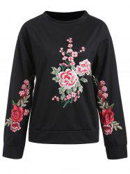 Sweat-shirt Pull-over Floral Brodé -