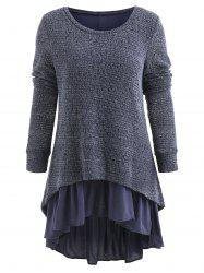 High Low Spliced Flouncing Sweater -