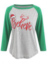 Christmas Believe Print Baseball T-shirt -