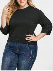 Plus Size Crew Neck Tee with Drop Shoulder -