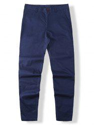 Wide Leg Zip Fly Solid Pants -