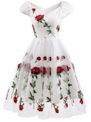 Floral Embroidered Fit and Flare Prom Dress -