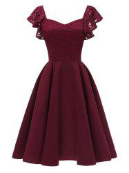 Sweetheart Neck Lace Fit and Flare Dress -