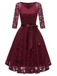 V Neck Bow Belted A Line Dress -