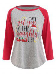 Christmas Graphic Print Contrast Baseball T-shirt -