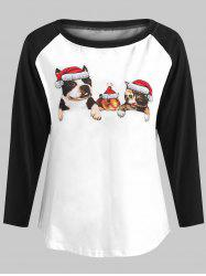 Christmas Animal Print Baseball T-shirt -