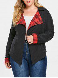 Plus Size Plaid Insert Open Front Jacket -