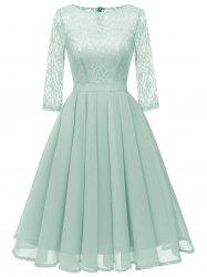 Lace Panel Pleated A Line Dress -
