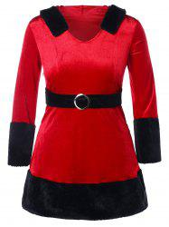 Christmas O Ring Embellished Plus Size Velvet Dress -