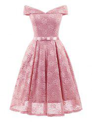 Belted Lace Cocktail Dress -