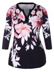 Plus Size V Neck Floral Printed Tee -