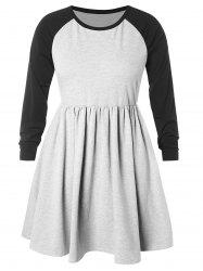 Plus Size Raglan Sleeve Color Block Pleated Dress -