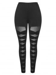 Mesh Panel Plus Size Ruched Leggings -