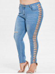 Plus Size Lattice Ripped Jeans -