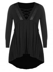 Plus Size Plunge Criss Cross High Low Tee -