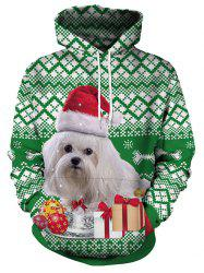 Christmas Dog and Gift Print Pullover Hoodie -