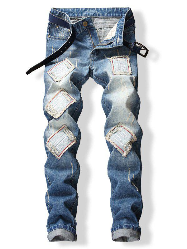New Chinese Letters Patched Frayed Cuffed Jeans