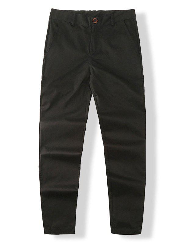 Affordable Wide Leg Zip Fly Solid Pants