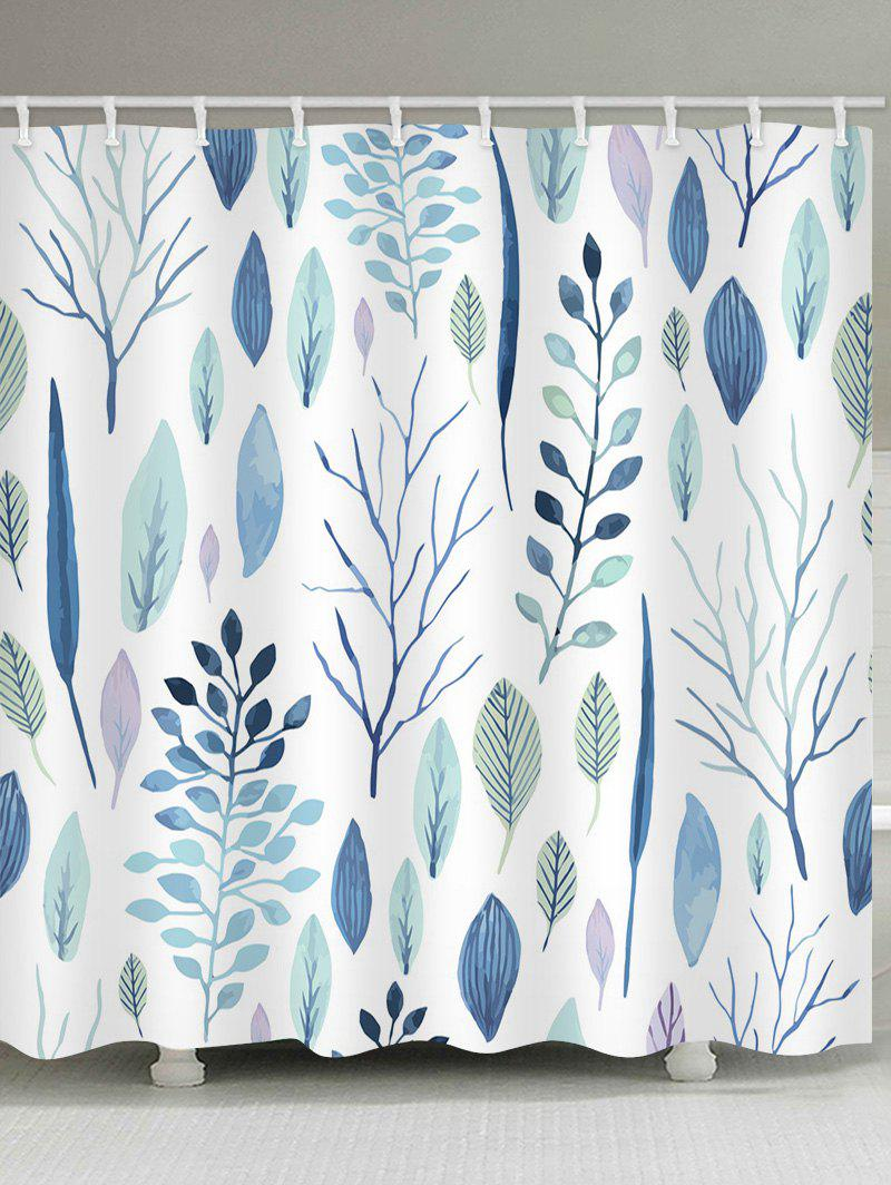 Online Leaf Pattern Waterproof Shower Curtain