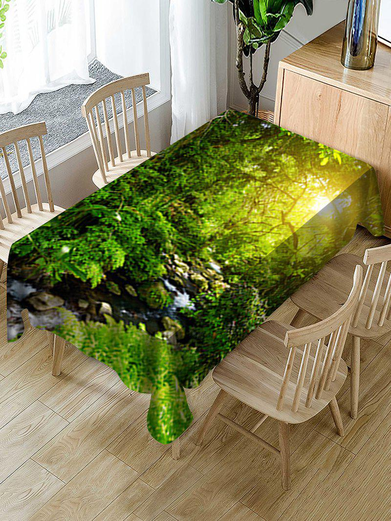 Buy Sunlight Forest Stream Print Fabric Waterproof Tablecloth