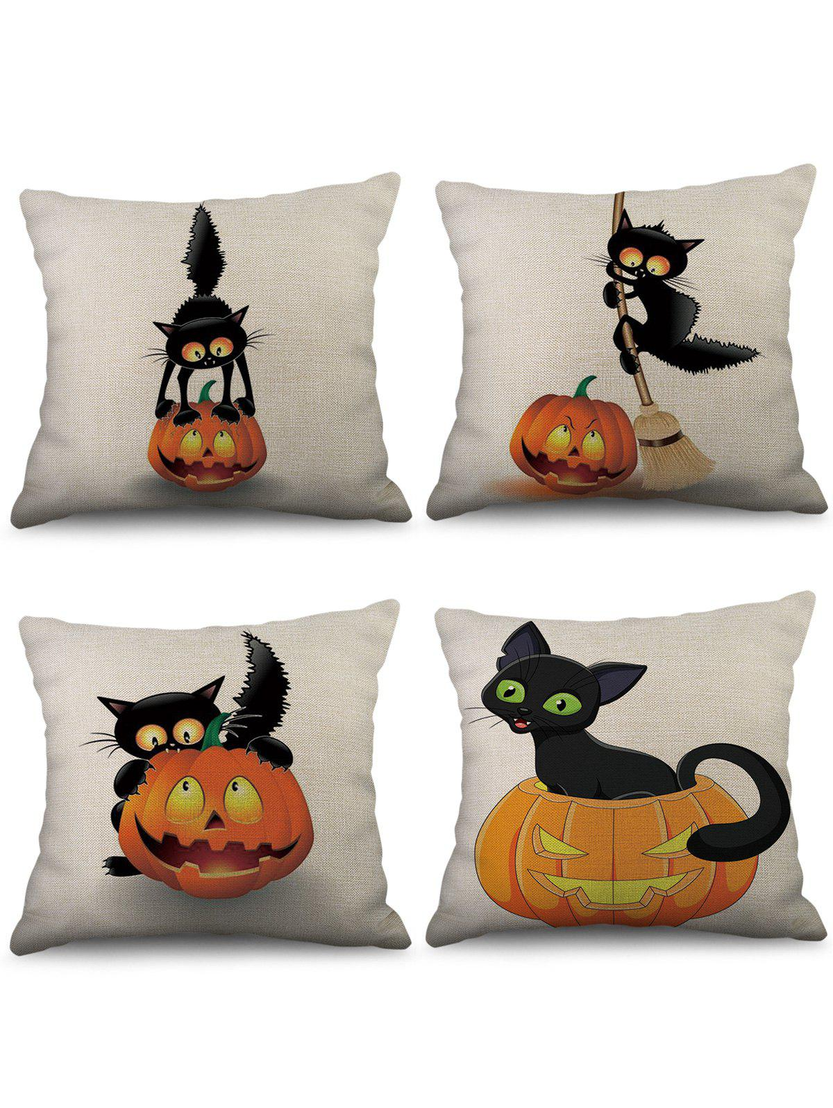 Chic 4 Pcs Halloween Pumpkin Cat Print Linen Pillowcases Set