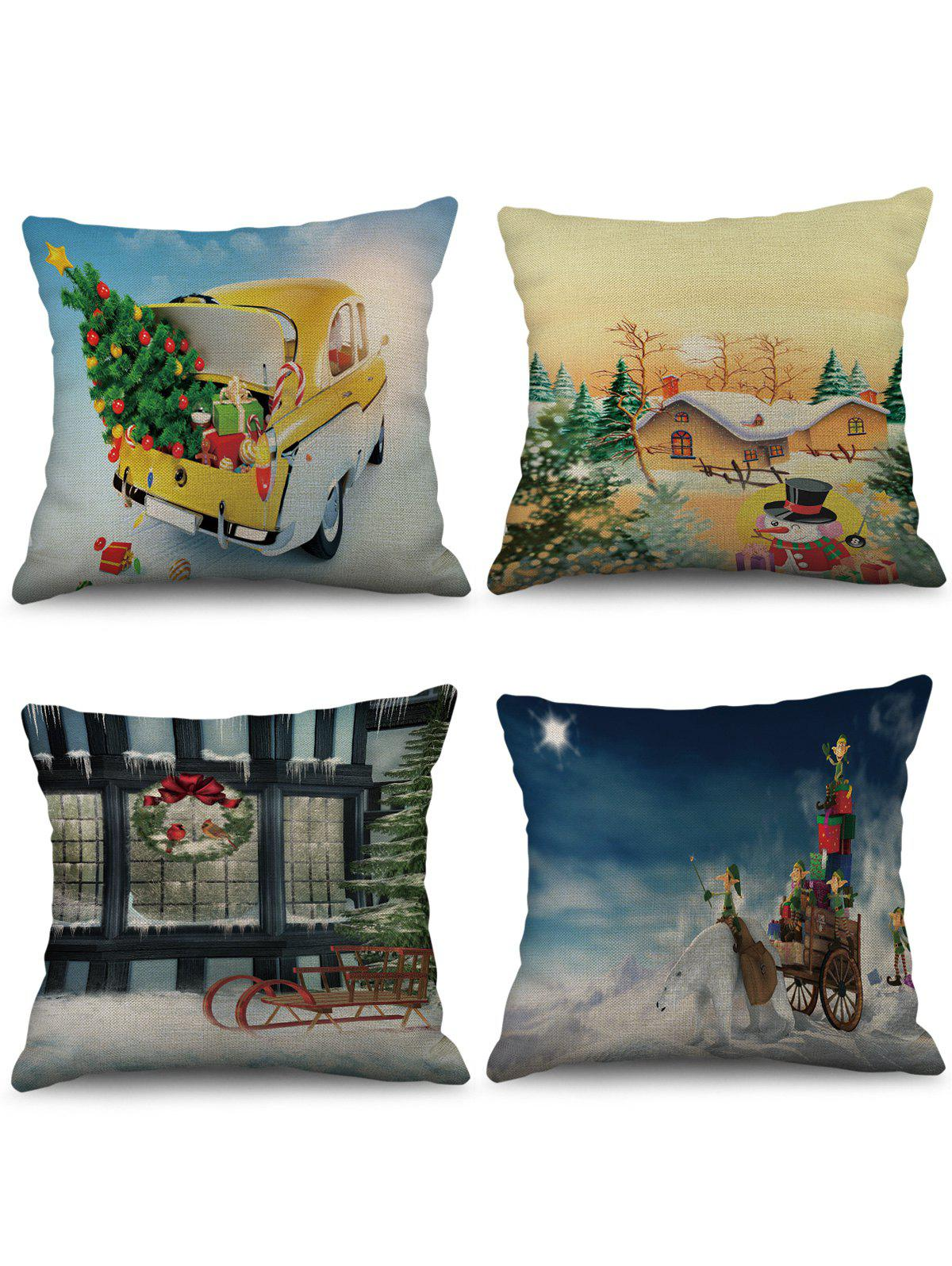 Store 4 Pcs Christmas Themed Print Sofa Linen Pillowcases