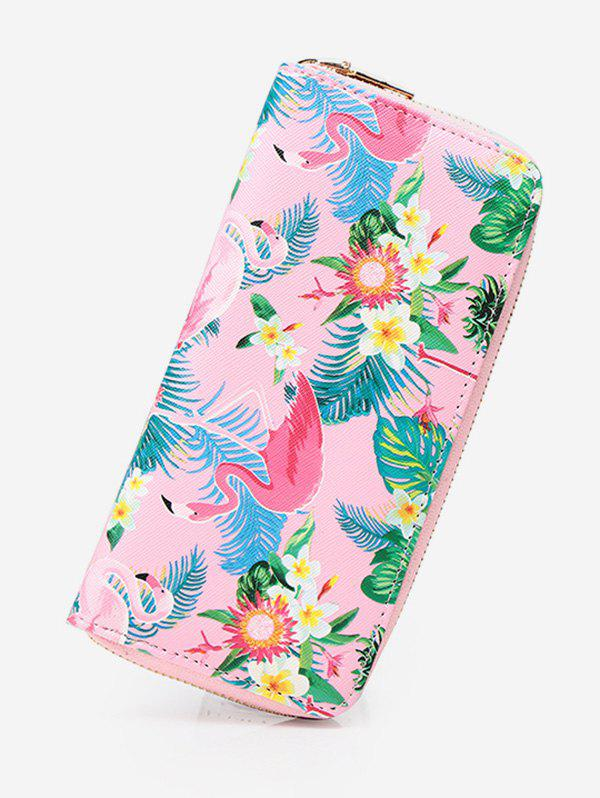 Hot Flamingo Print Zip Around Wallet