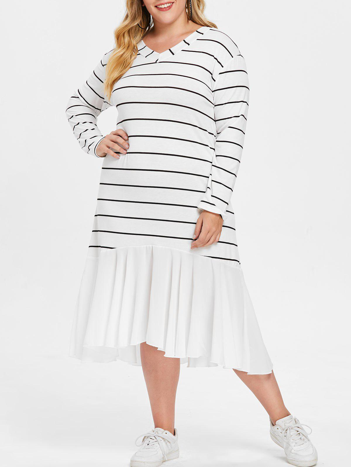 Latest Striped Panel Plus Size Knee Length Dress