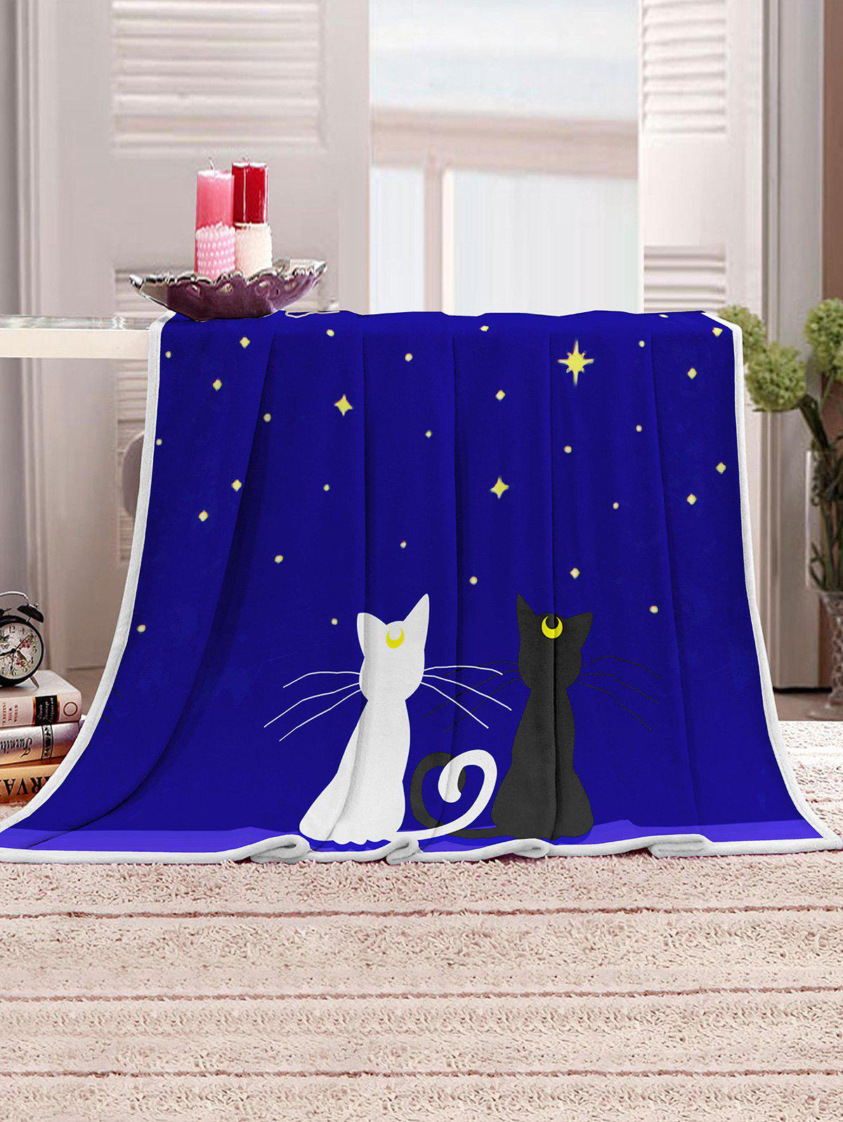 Hot Starry Night Cats Pattern Soft Flannel Throw Blanket