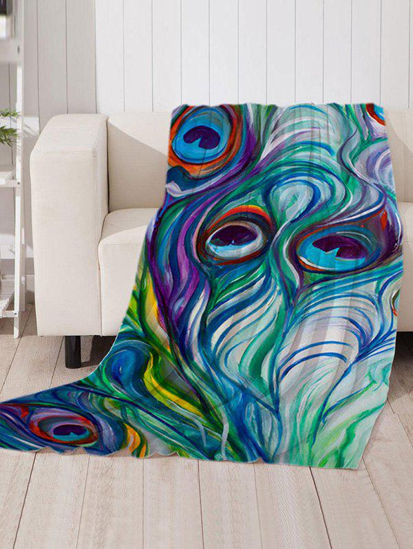 Unique Peacock Feather Pattern Soft Flannel Throw Blanket