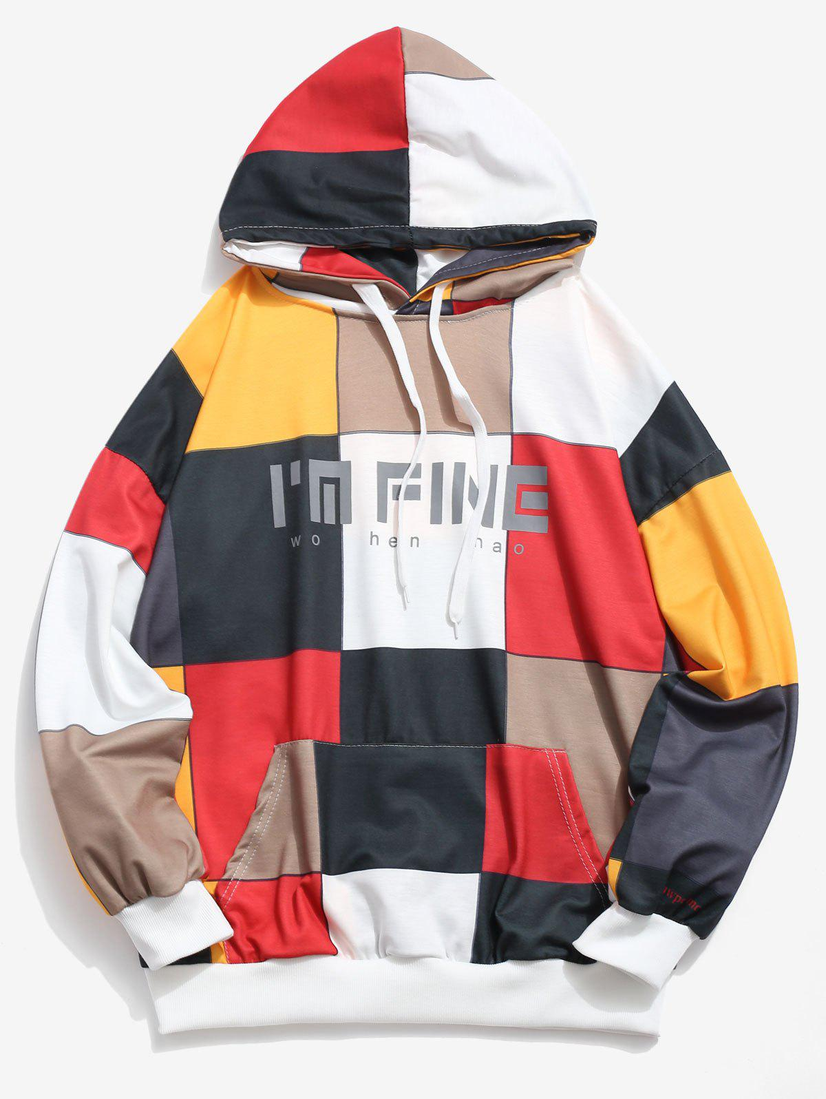 Outfits Square Color Block Letter Print Pouch Pocket Hoodie