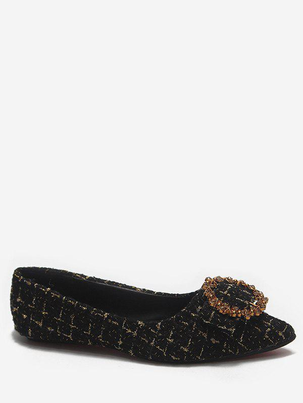 Trendy Pointed Toe Plaid Loafers Flats
