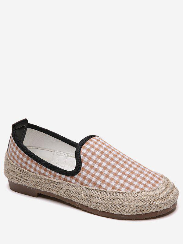 Buy Plaid Espadrilles Slip On Flats