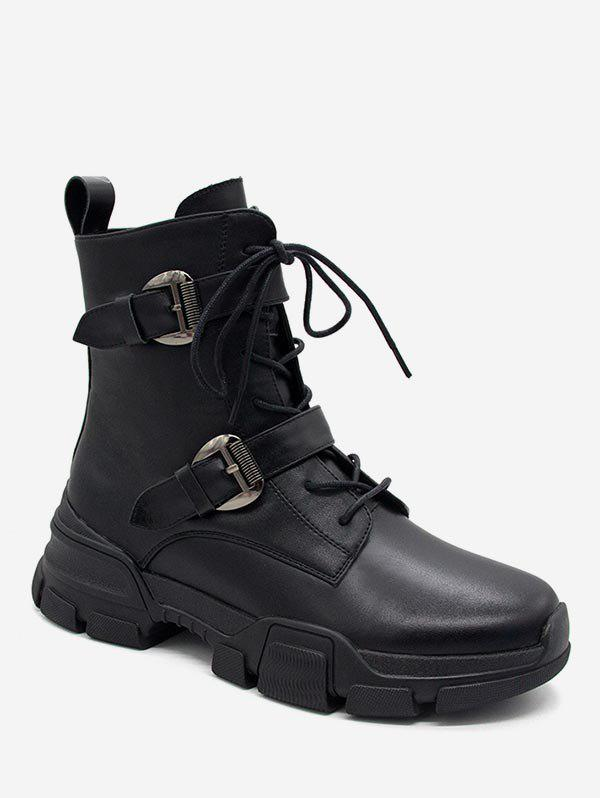 Latest Buckle Strap Lace Up Platform Ankle Boots