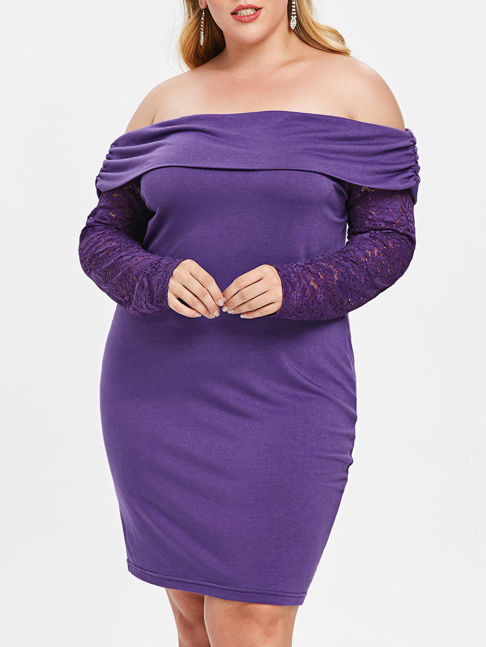 Store Plus Size Off Shoulder Bodycon Dress with Lace
