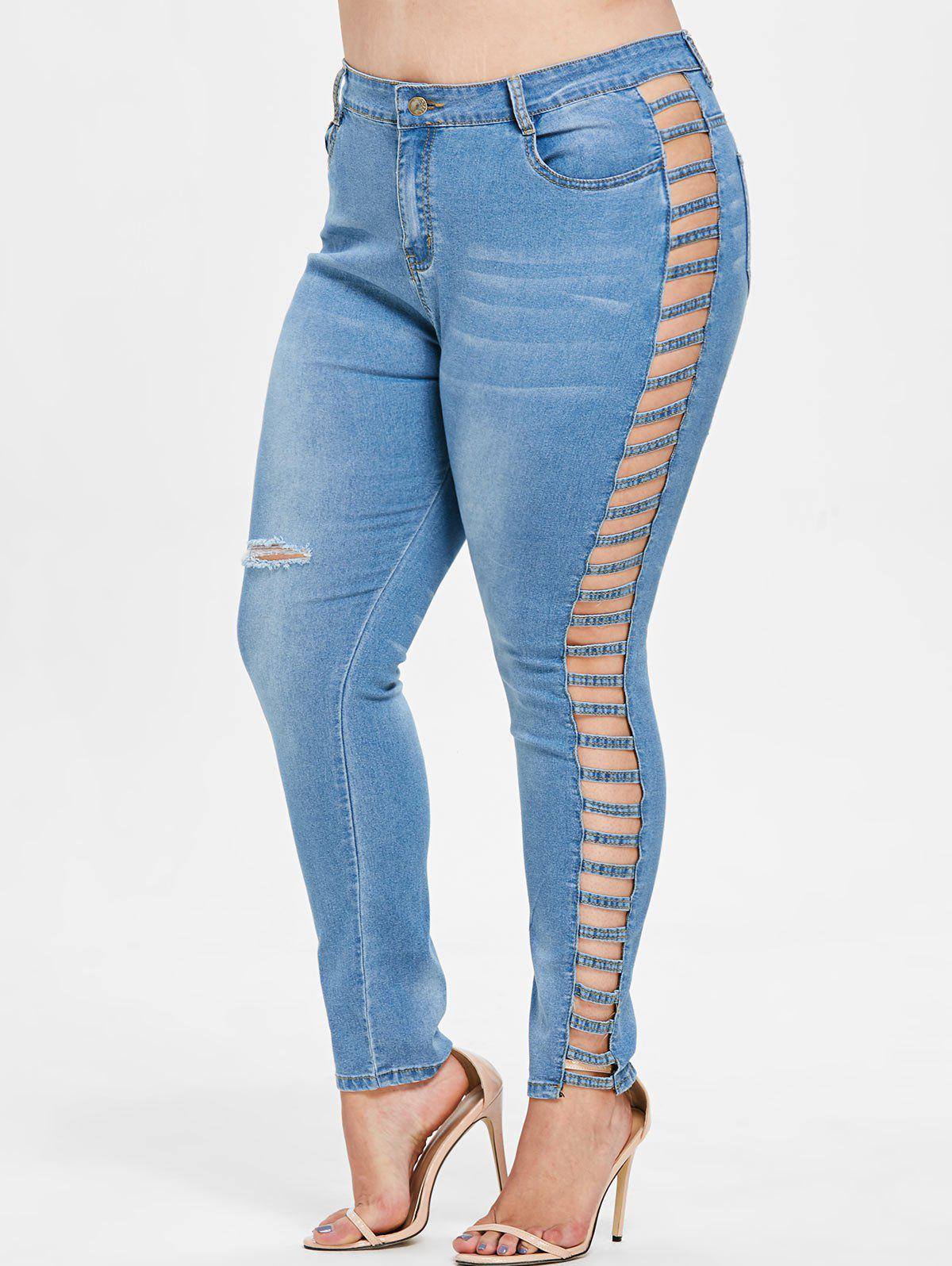 Affordable Plus Size Lattice Ripped Jeans