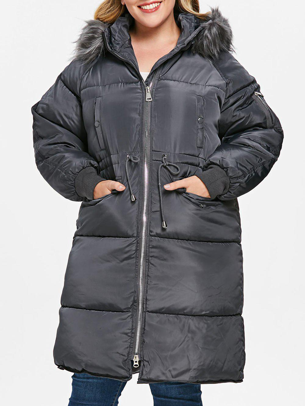 Affordable Plus Size Detachable Fluffy Collar Puffer Coat