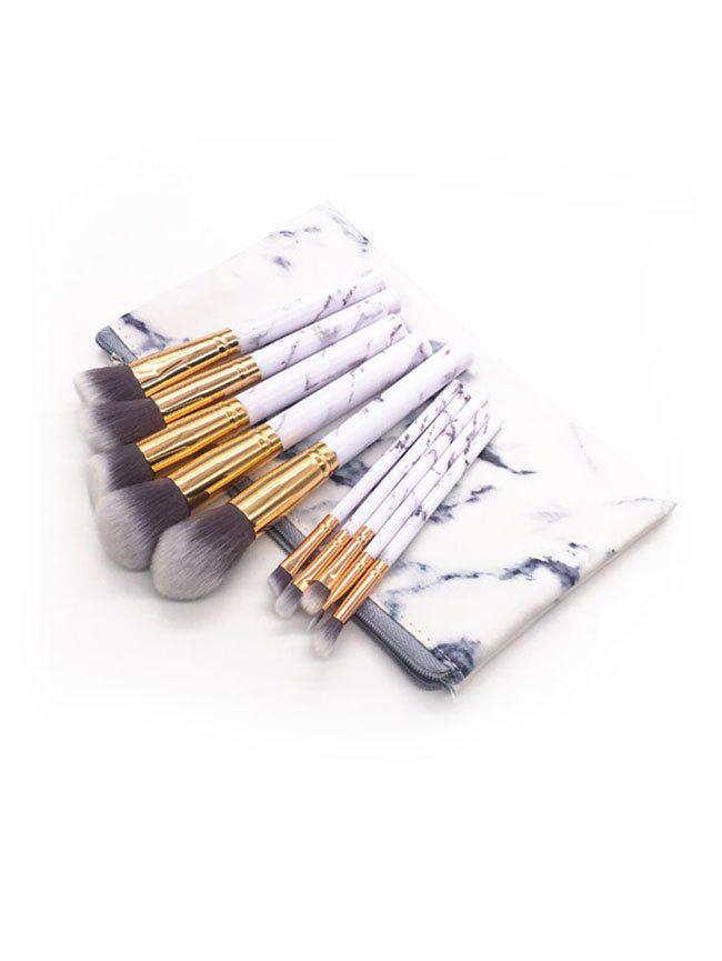 Outfit 10 Pcs Marble Handles Fiber Cosmetic Brush Set with Bag