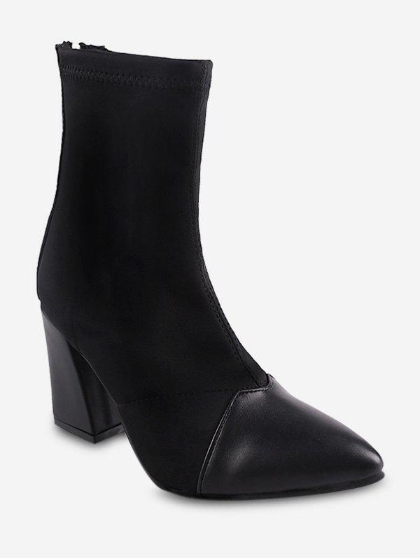 Unique Color Block Mid Chunky Heel Short Boots