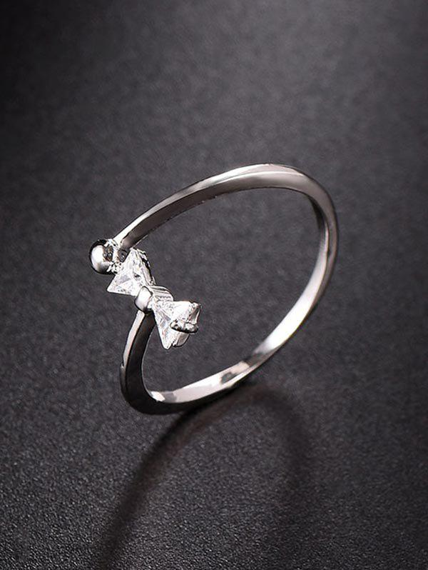 Shop Cut Out Rhinestone Bow Open Ring