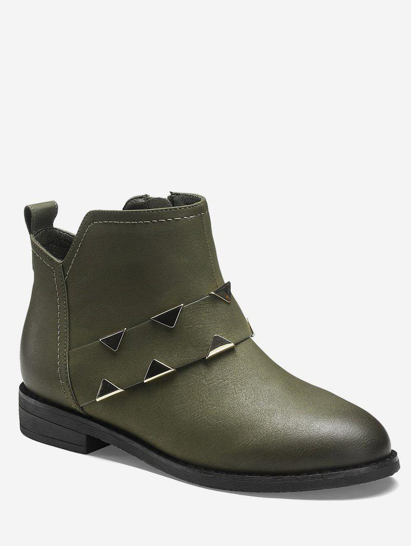 Latest Metal Triangle PU Leather Ankle Boots