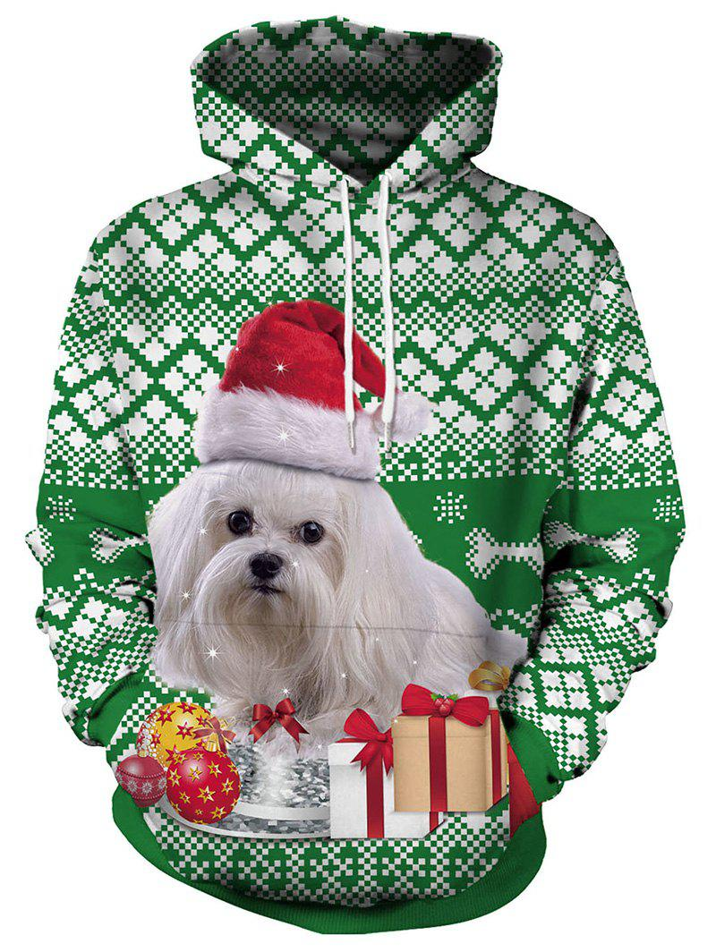 Chic Christmas Dog and Gift Print Pullover Hoodie