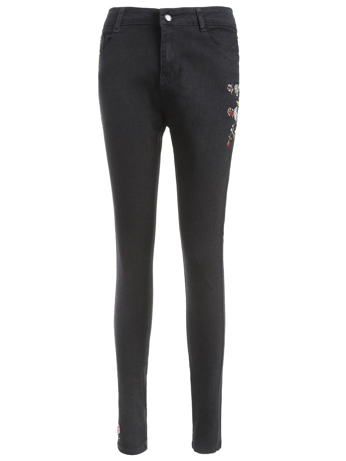 Shops Floral Embroidery Slim Jeans