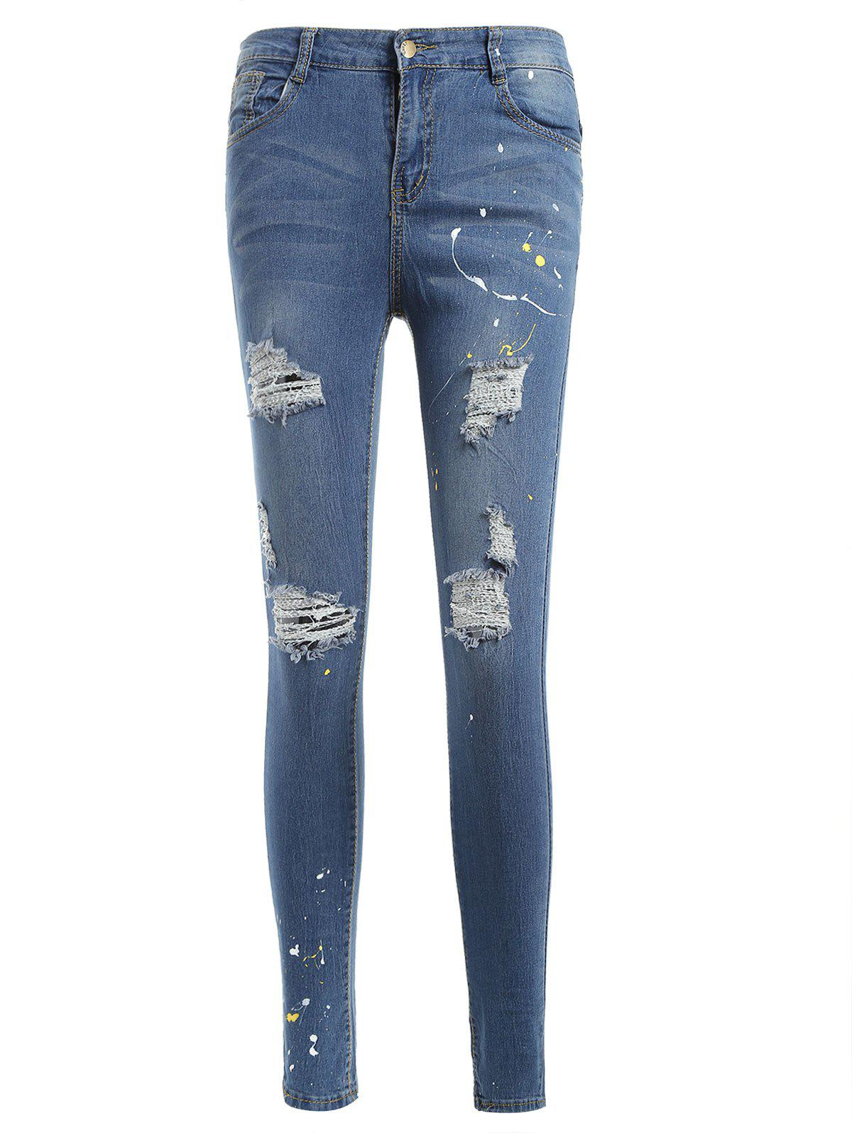 Trendy Spray Paint Distressed Jeans
