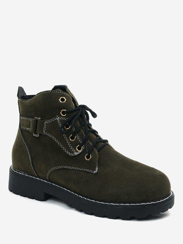 Latest Round Toe Lace Up Suede Ankle Boots