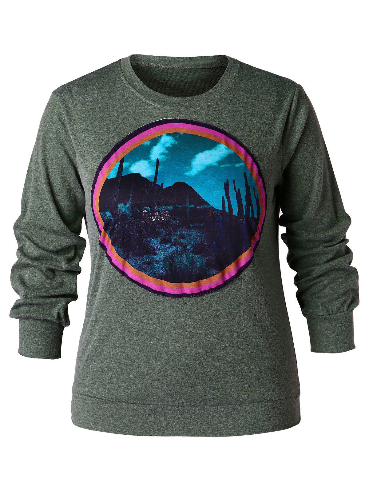 Sweat-shirt Pull over 3D Cactus Imprimé de Grande Taille
