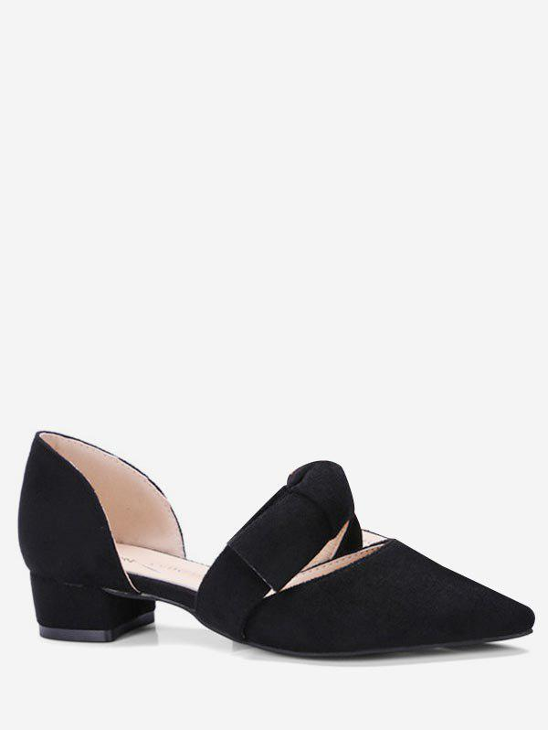 Shop Pointed Toe Bow Tie Flat Shoes