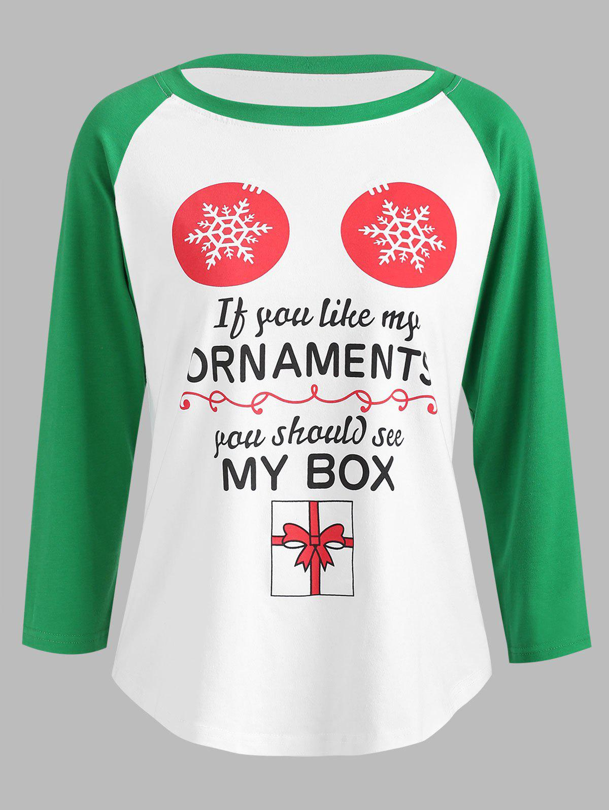 New Christmas Graphic Print Baseball Tee