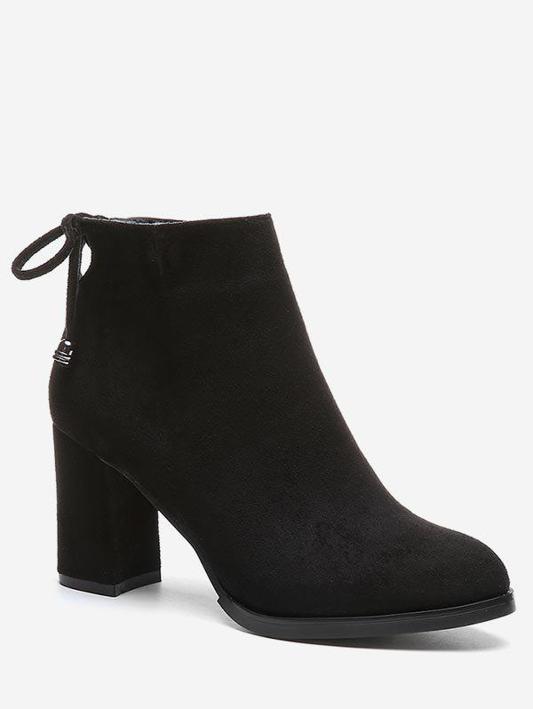 Hot Self Tie Back Chunky Heel Ankle Boots