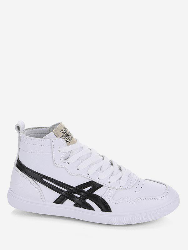 Discount Applique Lace Up Mid Top Sneakers